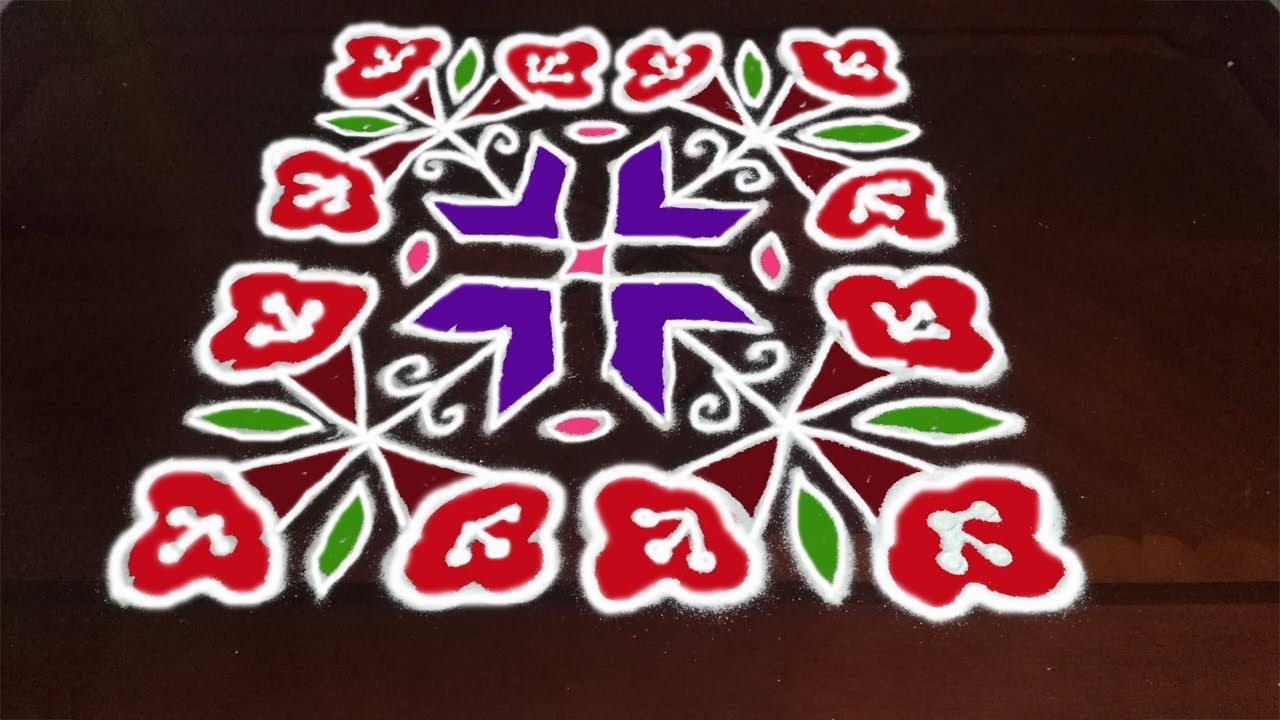 How To Draw Beautiful Flowers koalm designs with 14x14 dots For Sankranthi |  Rangoli Art