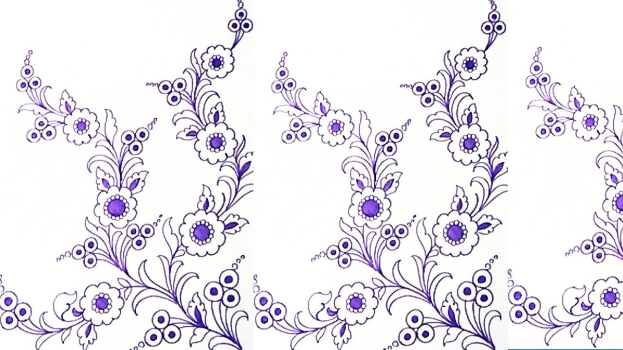 How to draw floral design for hand embroidery designs patterns