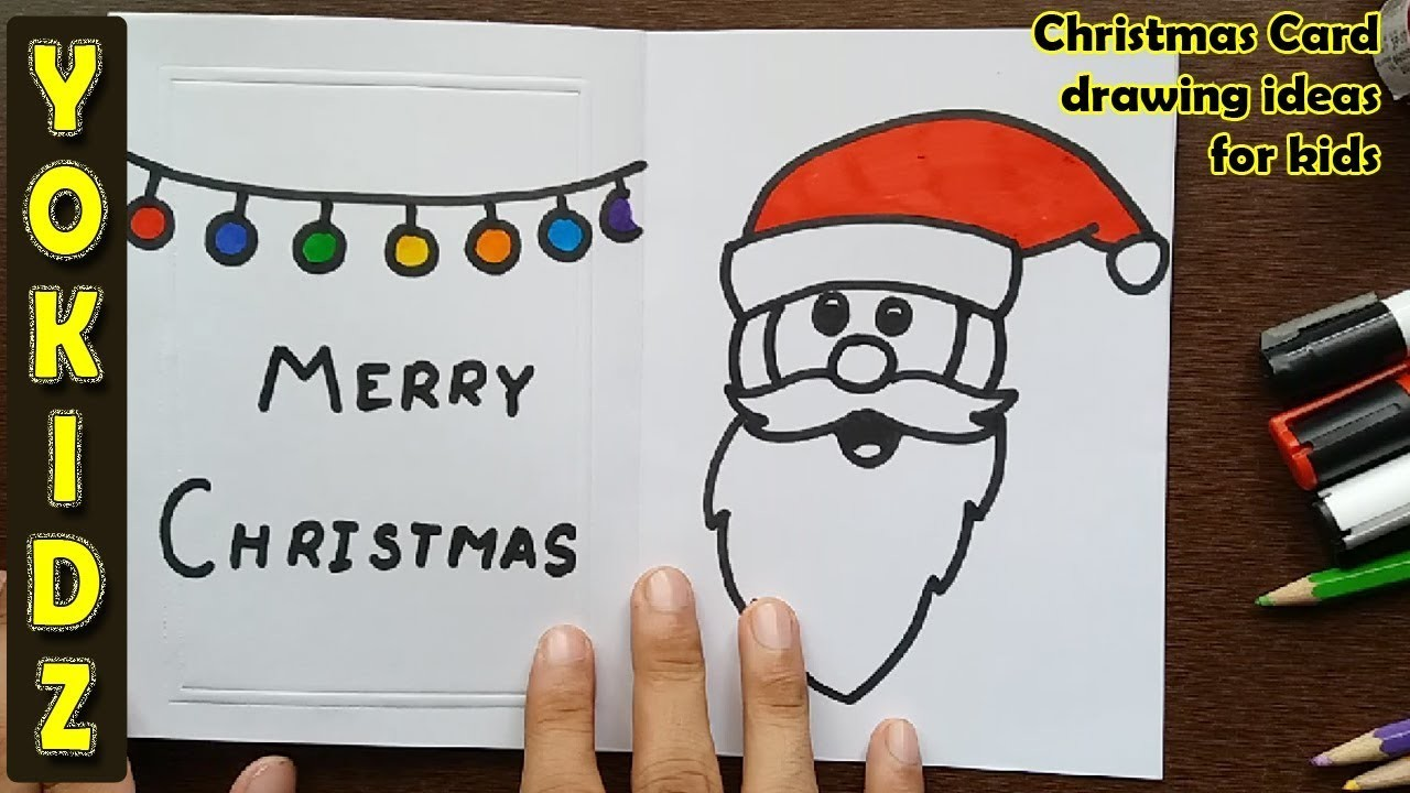 How to draw SANTA CLAUS Greeting card, Christmas Card drawing ideas ...