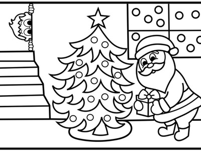 How to Draw Santa Putting Presents Under Tree | Santa Coloring Pages Kids | Fun Coloring Pages Kids