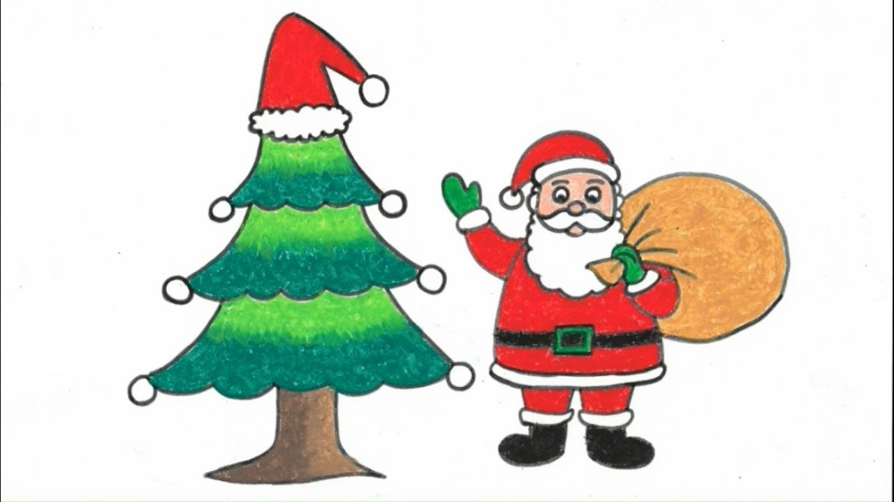 How To Draw Step By Step Santa Claus With Christmas Tree Art And