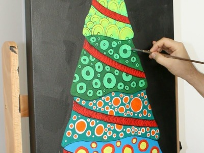 How to Make a Patterned Christmas Tree Painting