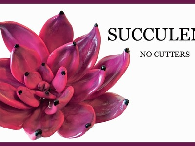 How to Make a Pink.Fuschia Succulent WITHOUT CUTTERS, WITHOUT MOLDS