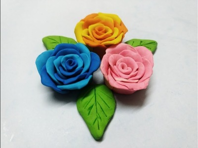 How to Make Double Color Roses From Clay || Realistic Clay Roses || DIY