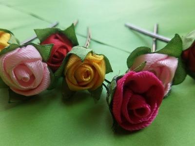 How To make Flower Hair Pins | Make Hair Pins With Ribbon Roses | Diy Ribbon Roses