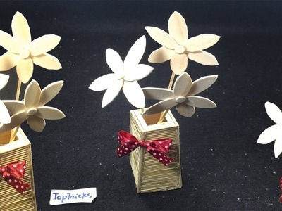 How to make flower vase with Bamboo sticks | How To Make Flower using Pop Sticks