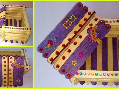 How to make Gift Box with Ice Cream Stick (Popsicle Stick) for Happy New Year and Christmas Day
