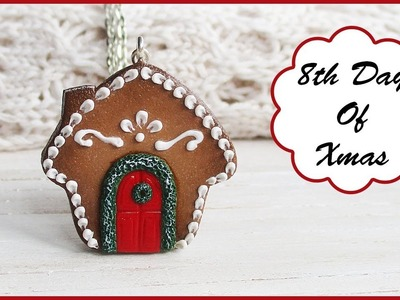 How To Make Gingerbread House Cookie Necklace, Polymer Clay Tutorial || Maive Ferrando