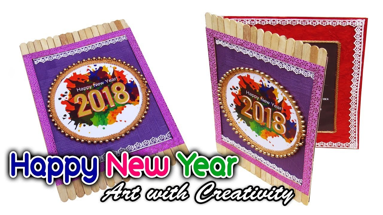 how to make happy new year card super easy art with creativity 312