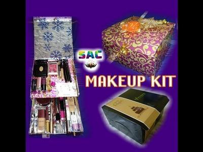 How to make makeup box from cake box | Cardboard makeup kit | Diy makeup storage |