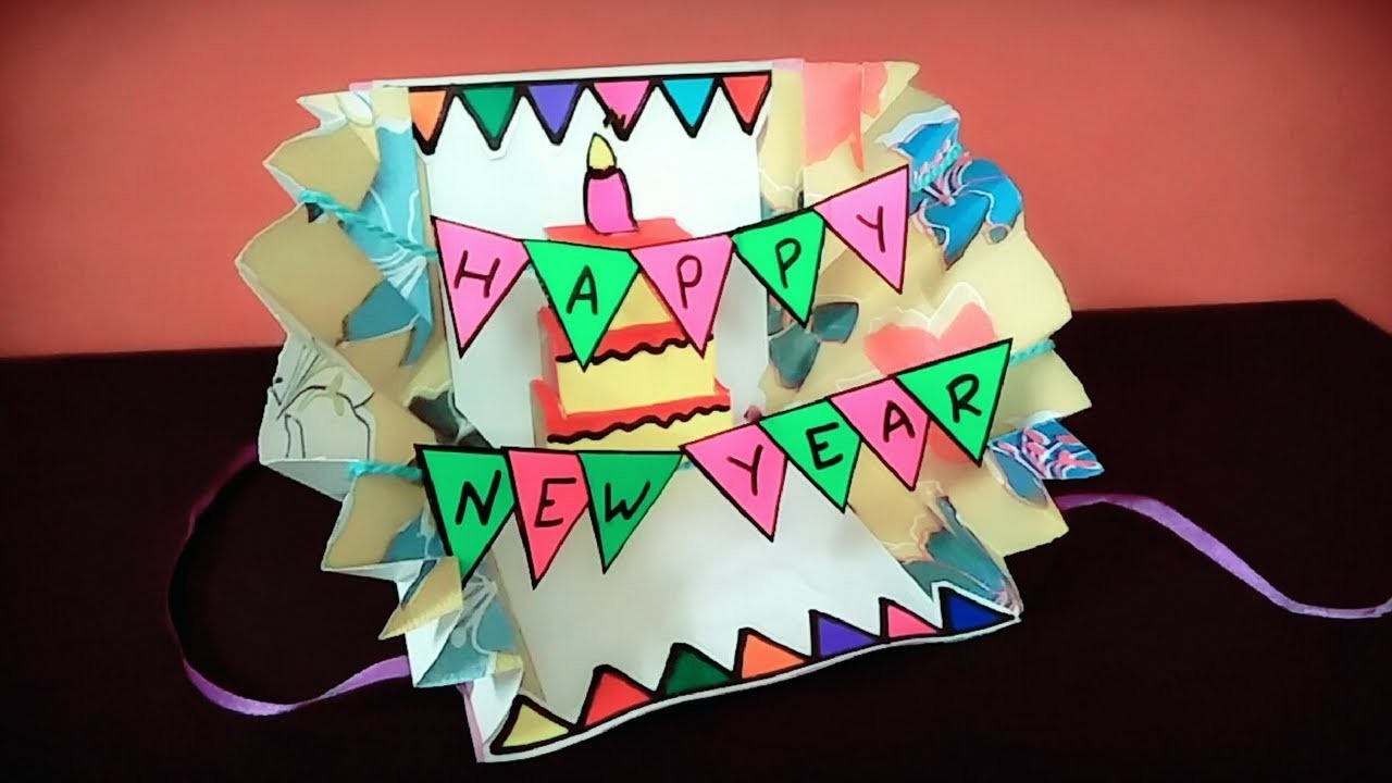 how to make new year cardnew year popup carddiy birthday card ideashandmade greeting cards