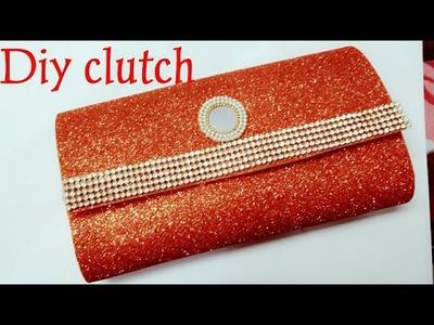 How to make no sew clutch purse with glitter foam sheets in 5min.DIY clutch purse no sew tutorial