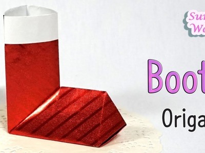 How to make paper Boots. (Santa Boot, Christmas Stocking)