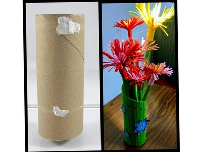 How To Make Paper Flower Vase With Tissue Roll