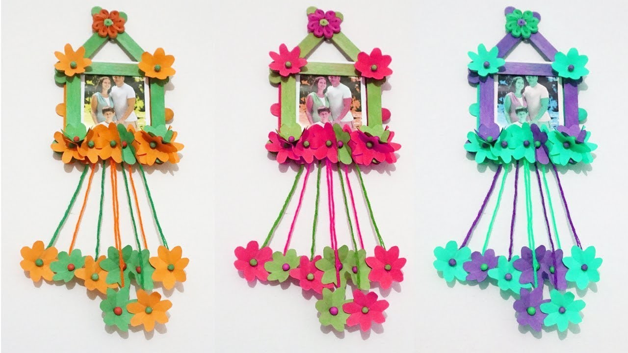How to make Photo frame at Home, photo frame with popsicles stick ...