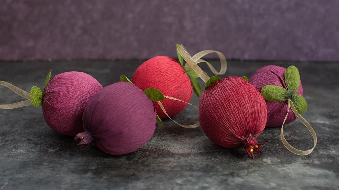How To Make Pomegranate Ornaments with Crepe Paper