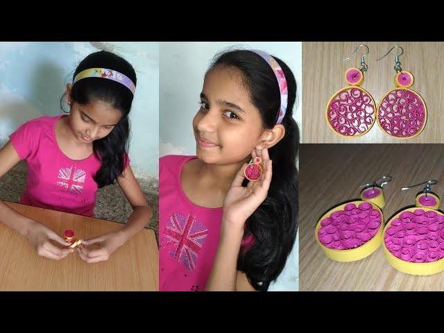 How to make quiling earrings. 11 years old girl (Aarya Sawant) made beautiful earrings . .!!!!