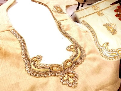 How to Stitch Readymade Neck Design Patch Work in Christmas Blouse - Neckline Patch Attachment