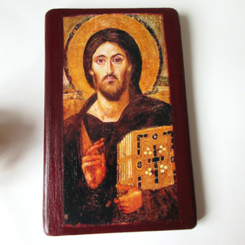 Jesus Christ art Jesus Pantocrator icon Byzantine Orthodox Catholic icon Jesus painting 5 1/3 X 8 1/2 Christian Catholic art Gift for Easter