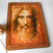 Jesus icon Large Religious holy Christian art Painting Shroud of Turin Orthodox Catholic Icon Home Blessing Christian plaque Jesus art mixed