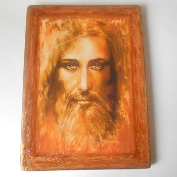 Jesus icon Large Religious holy Christian art Painting Shroud of Turin Orthodox Catholic Icon Home Blessing Christian plaque Jesus art mixed
