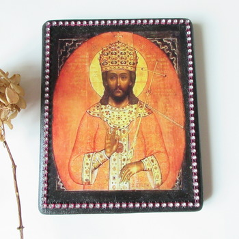 Jesus Icon Orthodox Religious Icon Wooden King of Kings Religious icon 5 X 6 1/2 Spiritual painting Christian art Catholic gift Russian icon