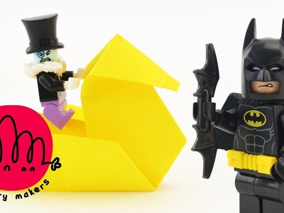 LEGO Batman! How to make a Duck with Paper Origami for Kids with LEGO Batman and Penguin