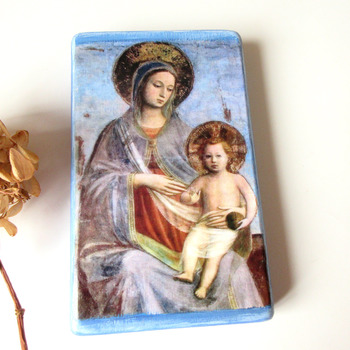 Madonna and Child Christian Icon Personalized gift Catholic art 3.3 x 5.5 Virgin and Child Catholic Religious painting by Fra Angelico Wood