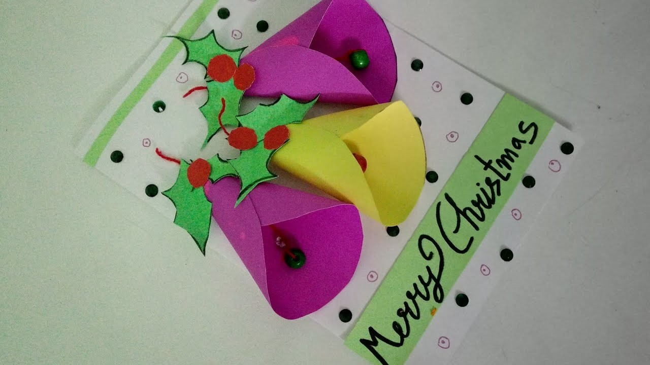 Make Easy Christmas Bell Card For Kids   How To   CraftLas