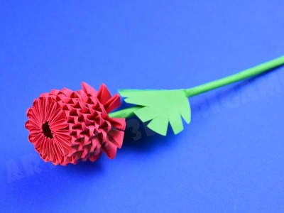 Origami flower rose from pieces of paper ♡ DIY How to make an origami flower 3D