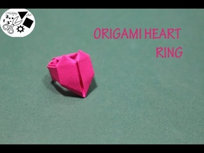 Origami paper heart ring- How to make paper ring- paper ring tutorial