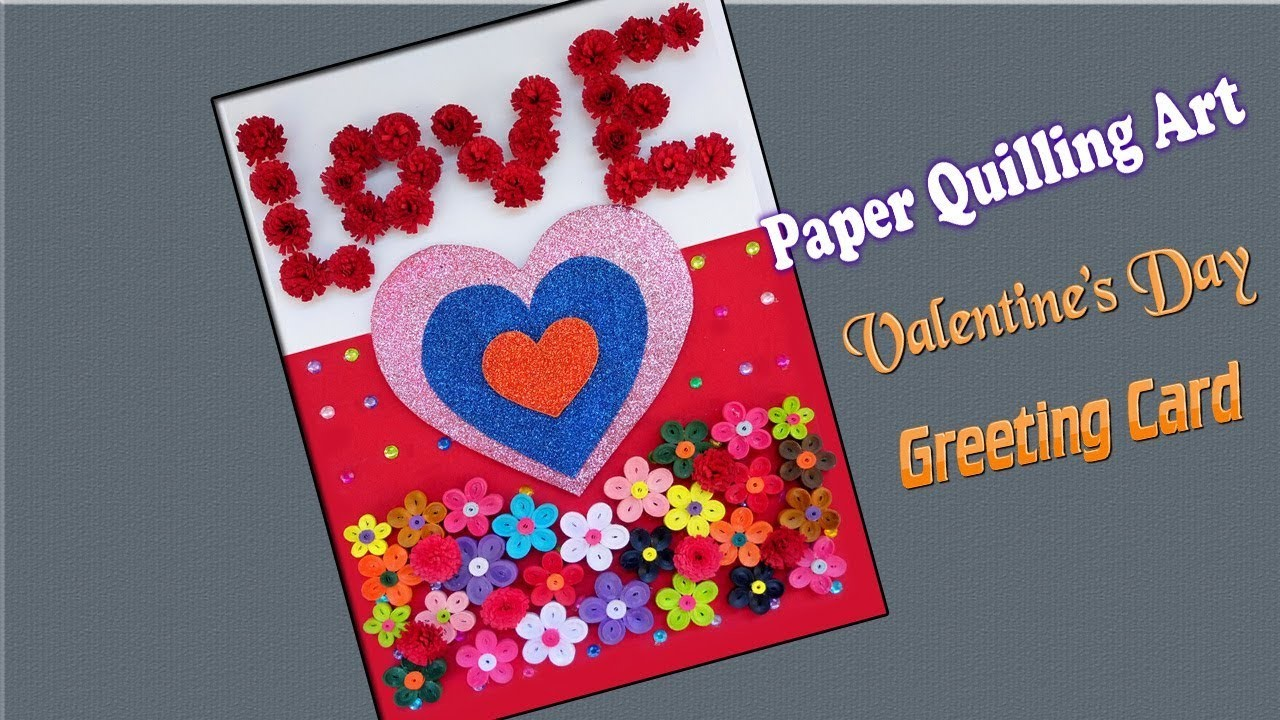 Paper Art Quilled Card Valentines Day Greeting Card Paper
