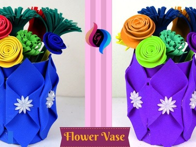 Recycled DIY - How to make Flower vase - Flower vase from recycled materials - Best out of waste