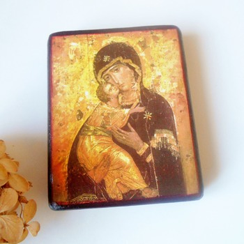 Theotokos of Vladimir icon Byzantine Orthodox Russian icon Catholic Icon Our Lady of Vladimir Personalized Christian gift Catholic art gift