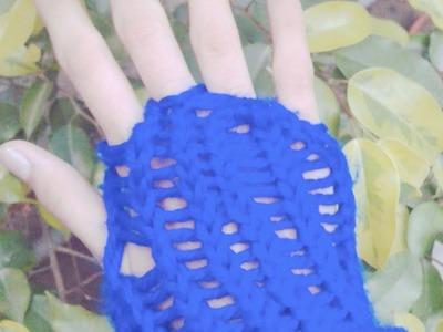 Tutorial of knitting fingerless gloves on rectangular loom