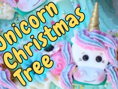 Unicorn Christmas Tree Cake in Buttercream with Fondant Decorations - HOW TO MAKE A UNICORN CAKE