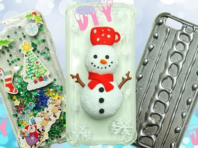 3 DIY WINTER PHONE CASES - How To Make Sparkly Phone Case - Snowman Phone Case