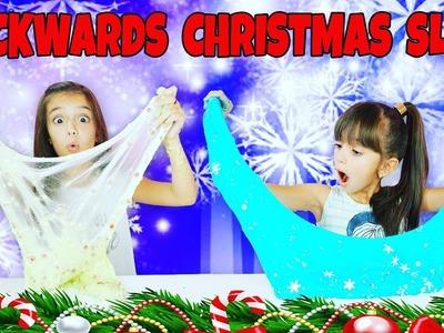 Backwards Christmas Slime Challenge - MAKING SLIME BACKWARDS - DIY Christmas Slimes