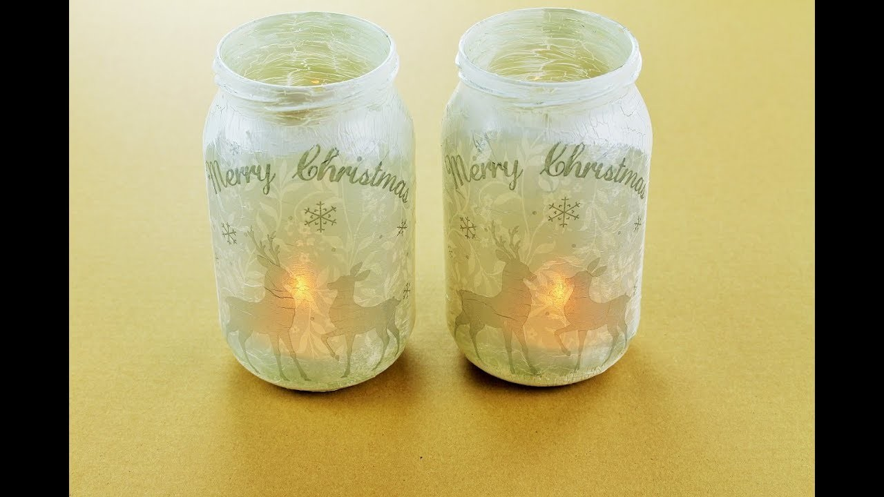 Decoupage Christmas Lanterns Jar - Fast & Easy Tutorials - DIY