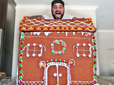 DIY GIANT GINGERBREAD HOUSE!! (BIGGEST GINGERBREAD HOUSE ON YOUTUBE)