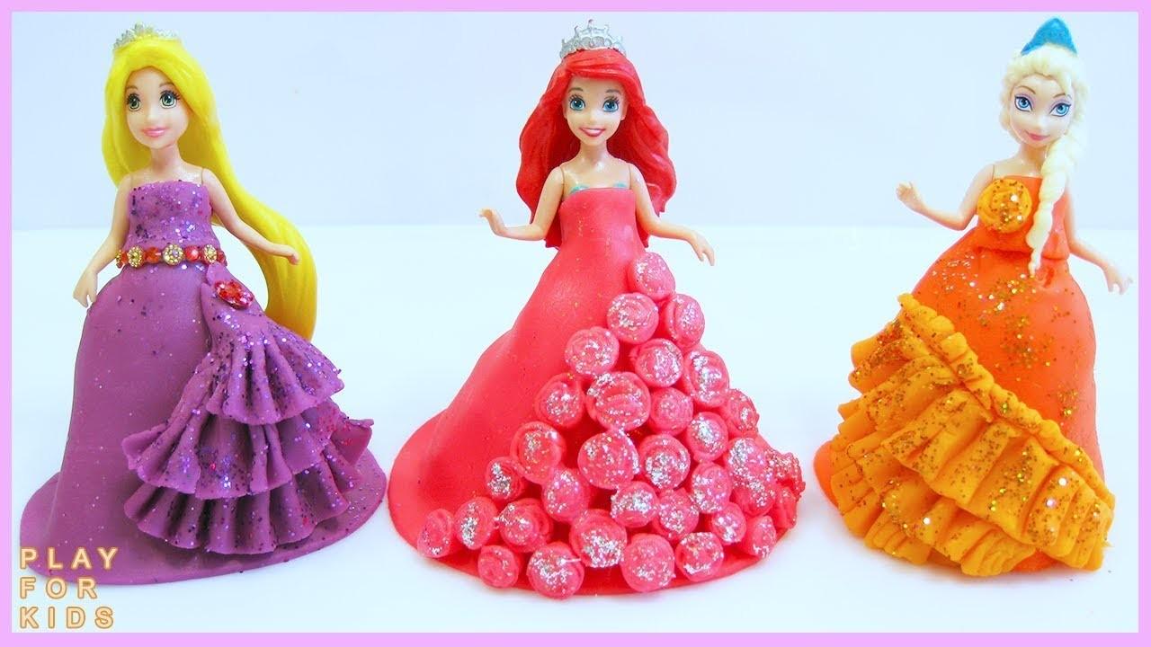 DIY How Make Super Play Doh Princess Dresses Rapunzel Elsa Ariel MagiClip Play Doh ❤️ ????
