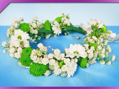 DIY How to make head wreath out of fresh flowers, for wedding (ENG Subtitles) - Speed up #485