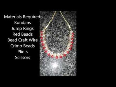 DIY  Kundan necklace with  beads