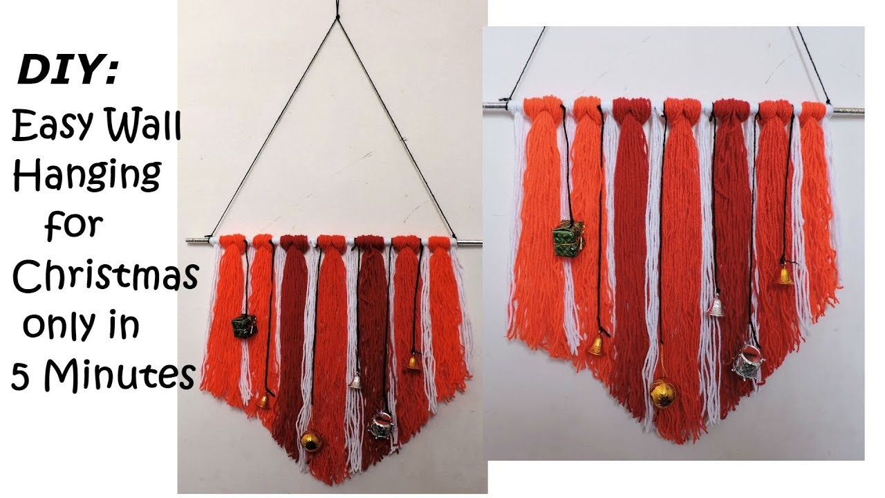 DIY:  Super Easy Wall Hanging for Christmas 2018. Easy Room Decor ideas