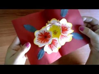 DIY Valentine's Day Card | 3D Pop Up Flower Card : New Year Greetings Card. Handmade Card