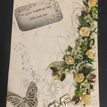 Hand crafted wedding day card.