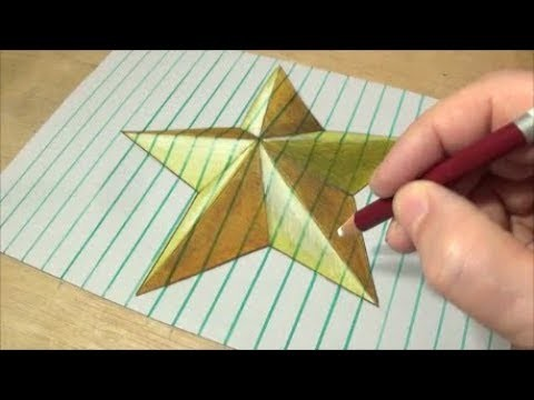 3d Drawing On Lined Paper : How to draw gold star drawing d on lined paper vamos