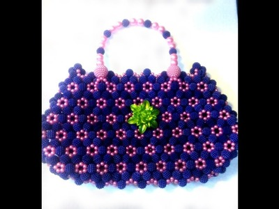 How to make a beaded party bag.diy lichu beads bag.part:2