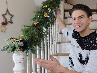 HOW TO MAKE A CHRISTMAS GARLAND FOR STAIRCASE | CHRISTMAS GARLAND UK DIY
