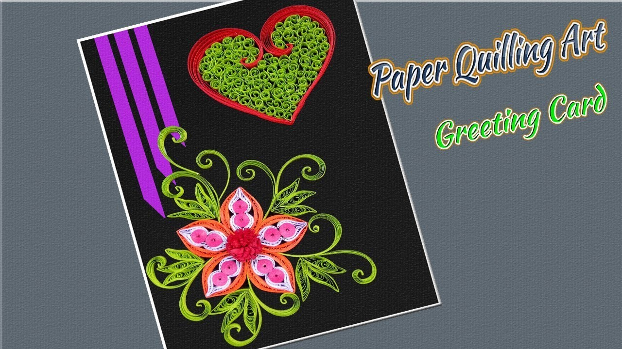 Paper Art Valentines Day Greeting Card With Quilling Flowers Paper